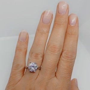 Diamond CZ Sterling Silver Solitaire Wedding Ring